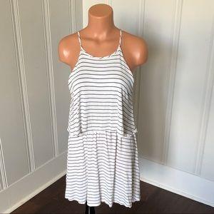 Karlie Dresses - Karlie Ivory Black Striped Layered Halter Dress M